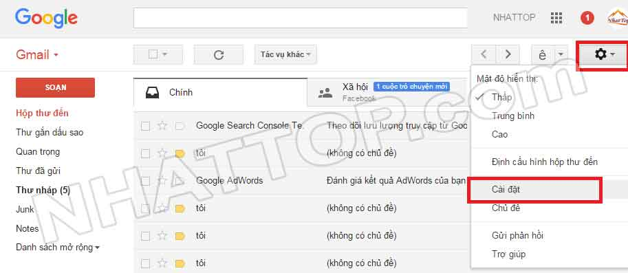 cấu hình gmail