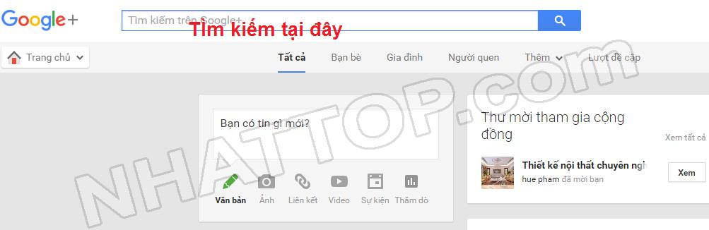 Điền thông tin cần tìm trên google +