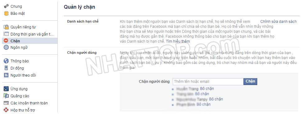 Chặn người dùng facebook