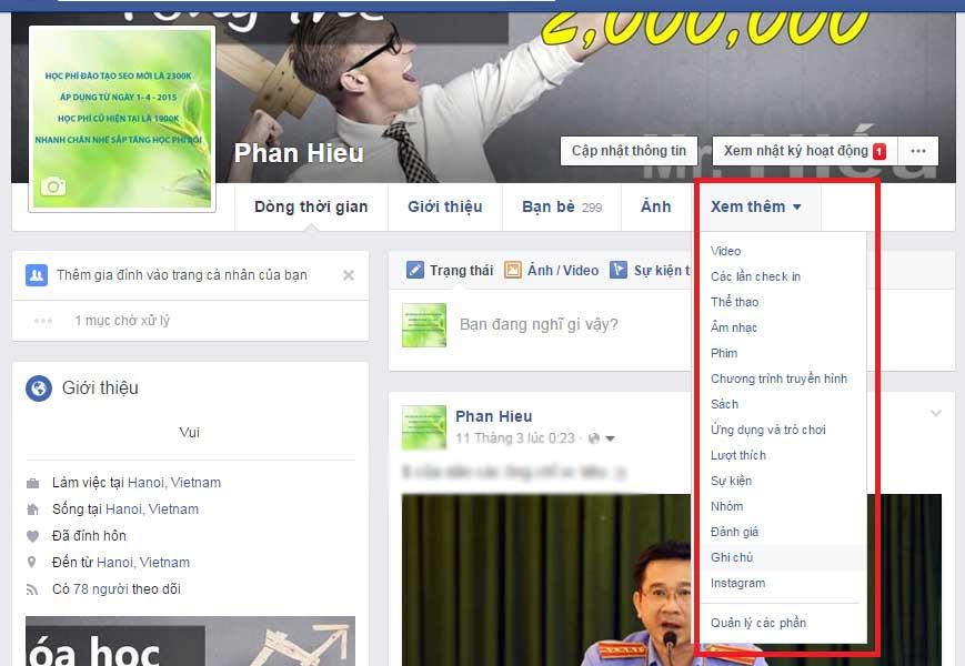 Chức năng ghi chú trong facebook