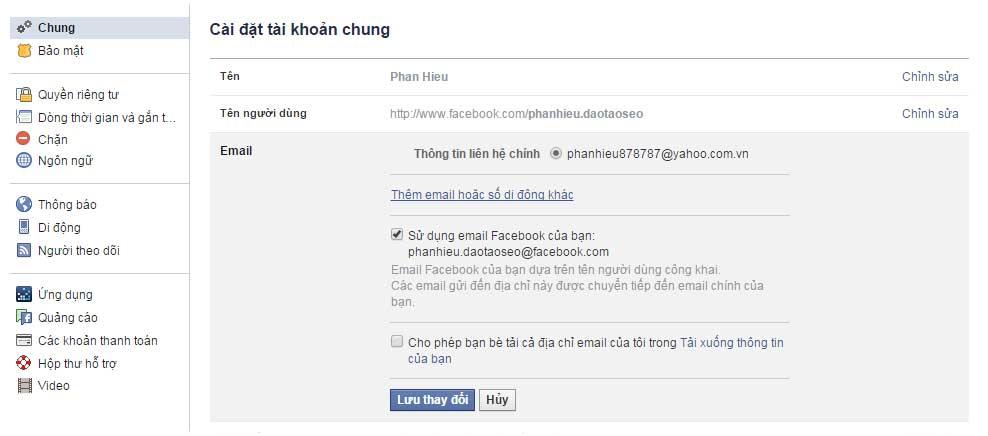 Thêm email facebook mới