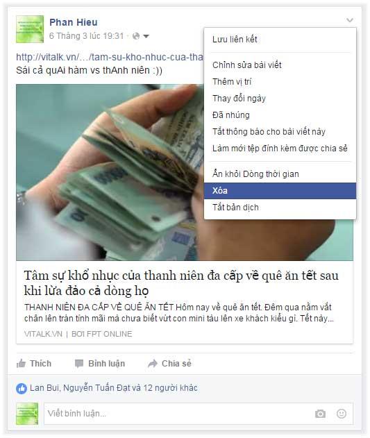 Xóa bài viết khỏi dòng thời gian facebook