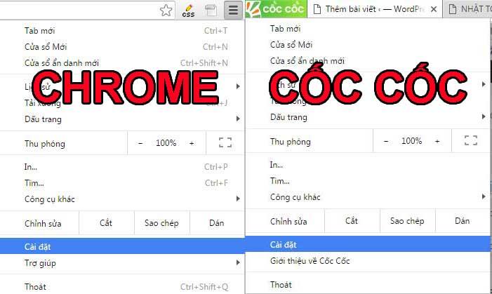 Tùy chỉnh menu của coccoc chrome