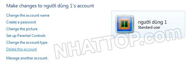 Xóa tài khoản trên máy tính