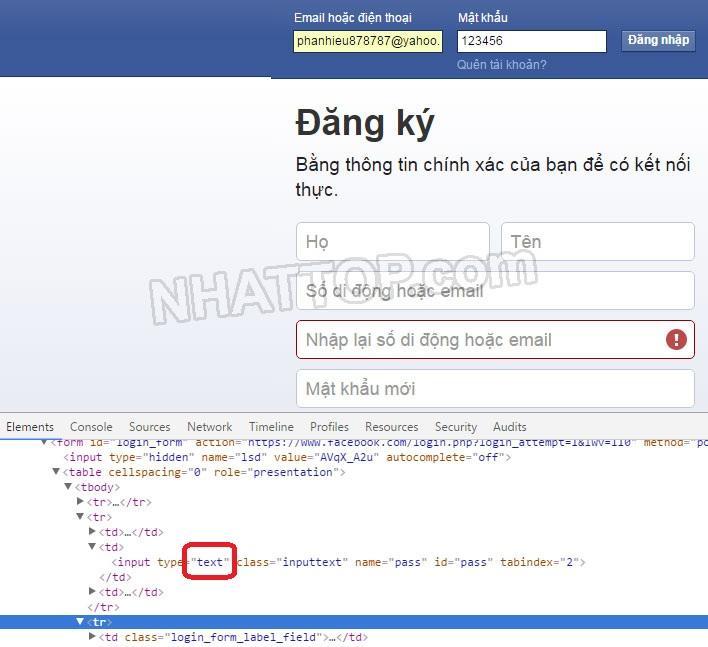 Hiển thị mật khẩu