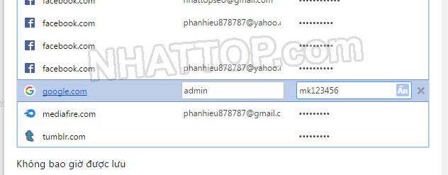 Hiển thị mật khẩu trên cốc cốc chrome
