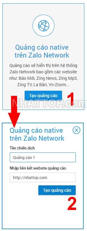 Chọn hình thức quảng cáo native trên zalo network