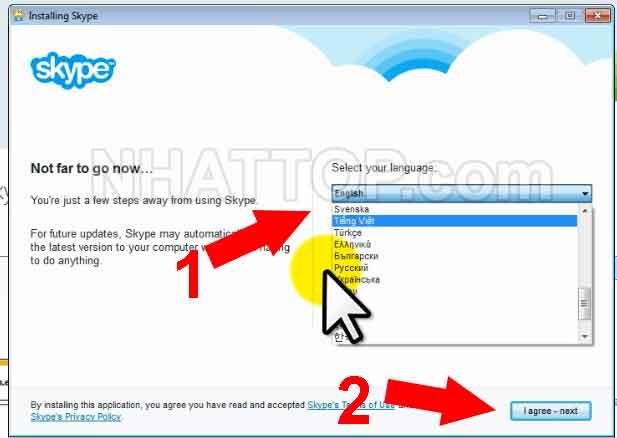 Lựa chọn ngôn ngữ dùng cho Skype