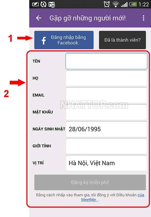 Nhập các thông tin cần thiết để đăng ký MeetMe