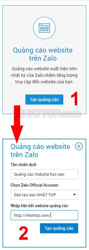 Tạo hình thức quảng cáo website trên zalo
