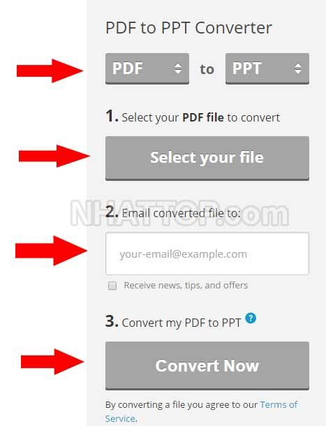 Nhập thông tin chuyển PDF sang PowerPoint