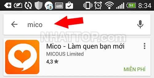Tìm kiếm ứng dụng MICO