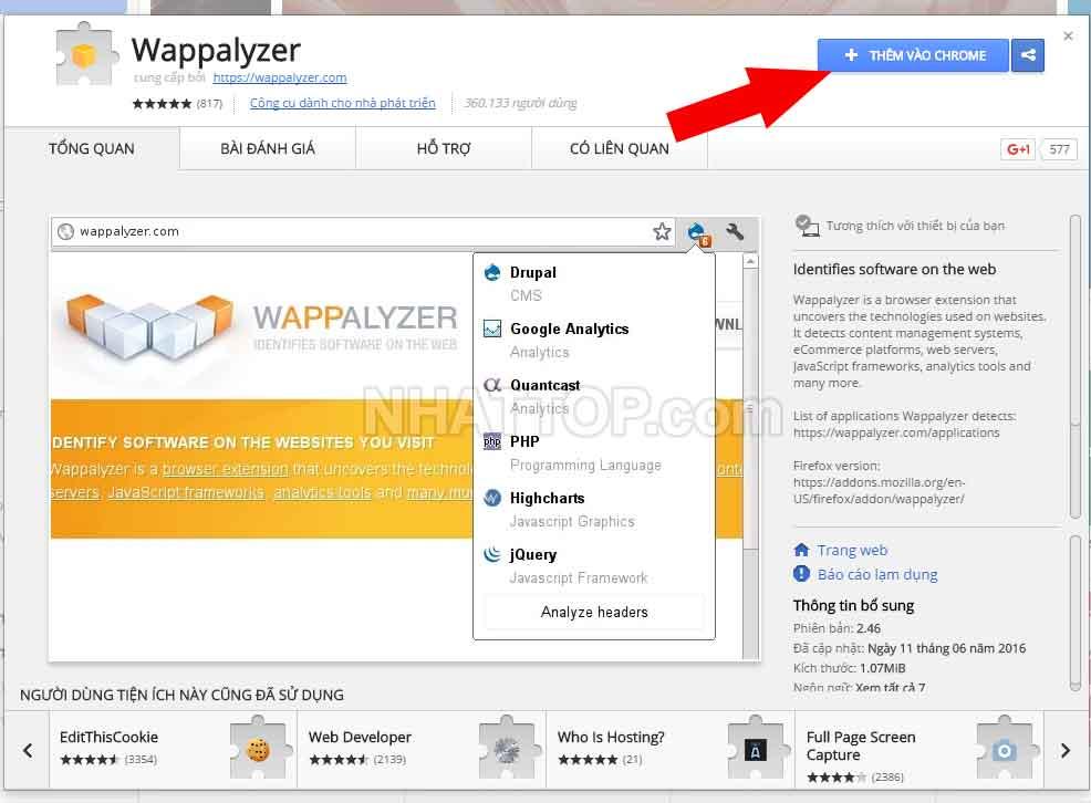 Cài đặt wappalyzer trên Cốc cốc hoặc Chrome