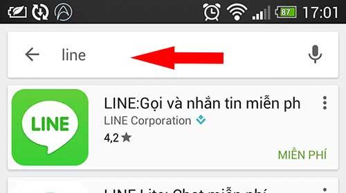 Tìm kiếm ứng dụng LINE