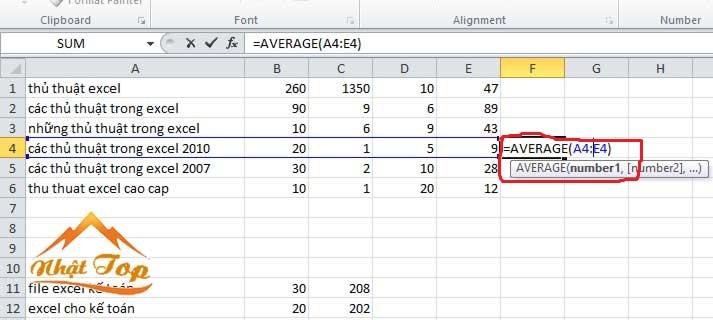 hàm tính giá trị trung bình average