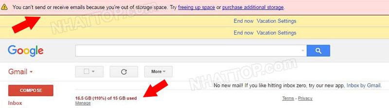 Thông báo không gửi hay nhận được thư của gmail