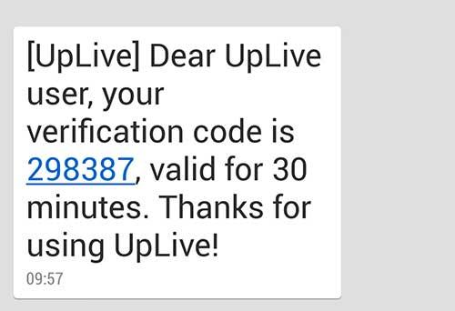 Mã xác nhận Uplive
