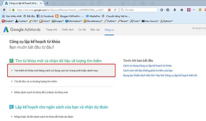 Bước 2 sử dụng google keyword planner