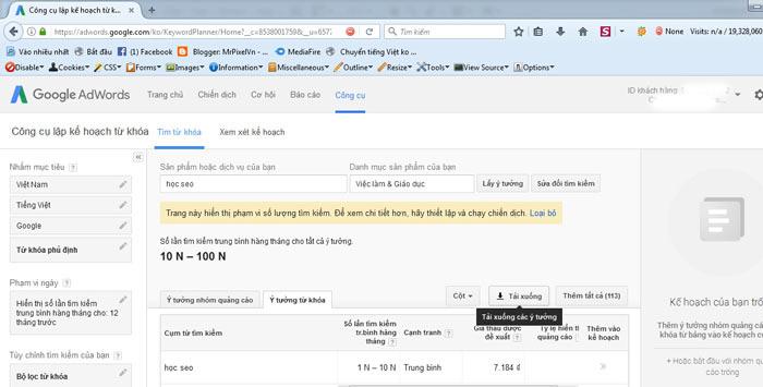 Bước 4 sử dụng google keyword planner