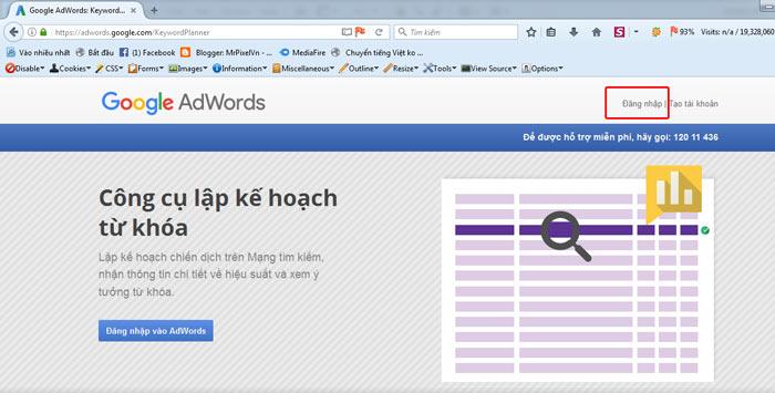 Công cụ tìm kiếm từ khóa Google Keyword Planner