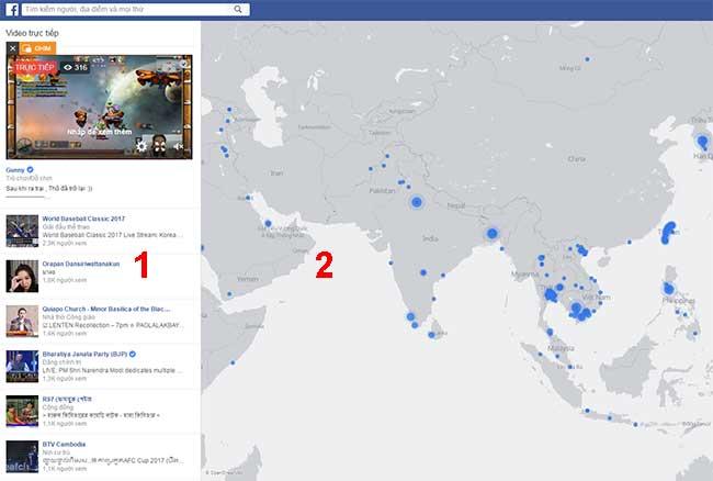 giao diện của Live trên Facebook
