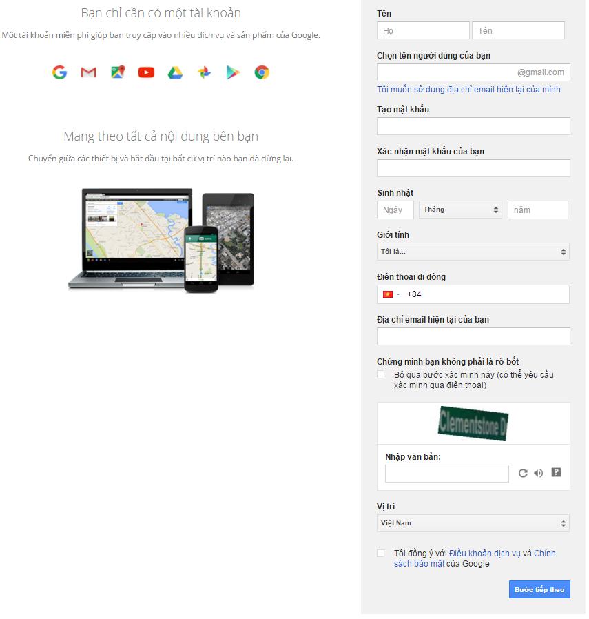 Điền form đăng ký gmail