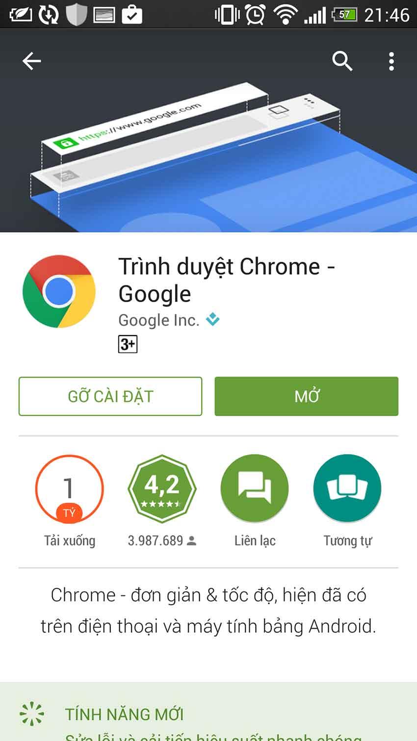 Hoàn tất cài đặt Chrome trên di động