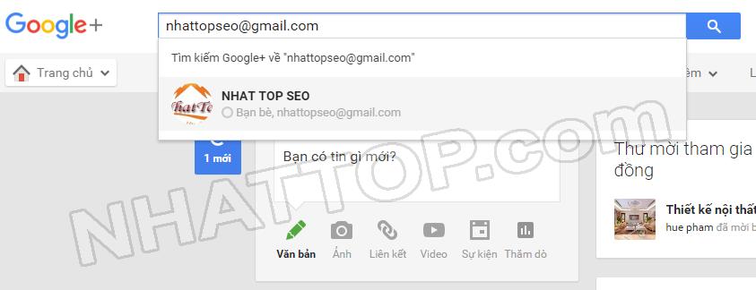 Ví dụ tìm kiếm bạn bè bằng gmail