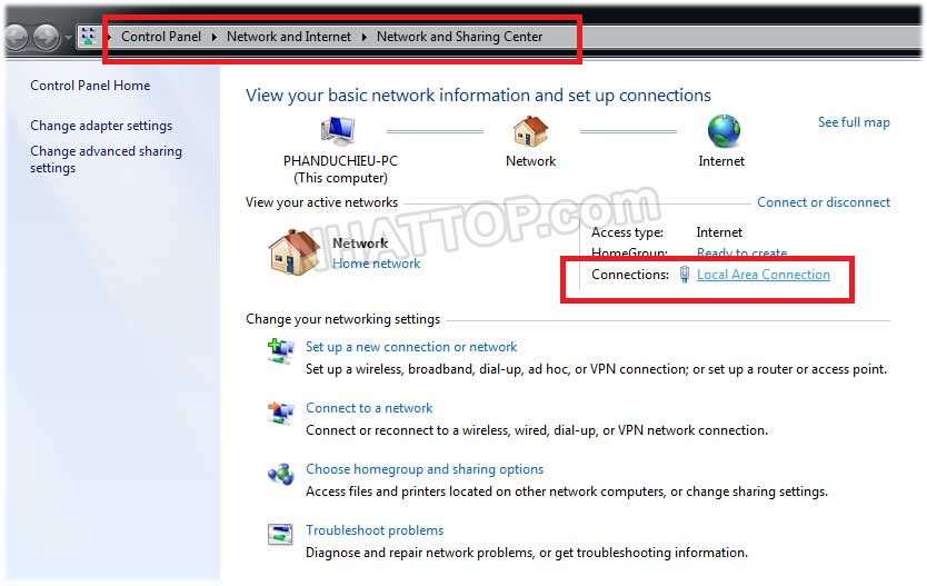 Dùng Network and sharing center kiểm tra ip