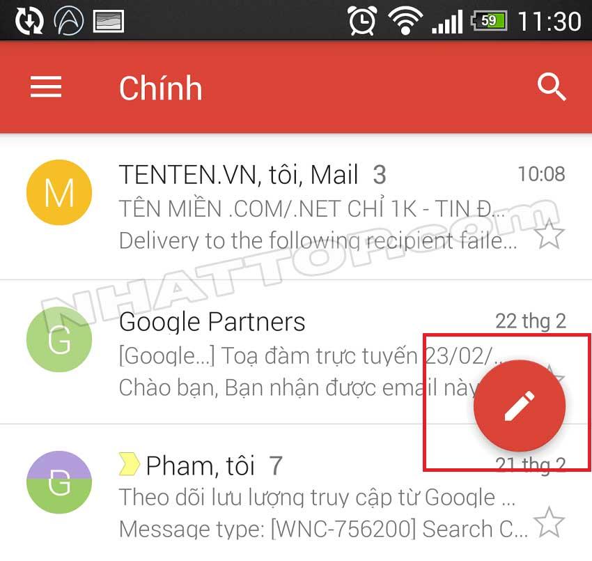 Soạn gmail mới trên điện thoại di động