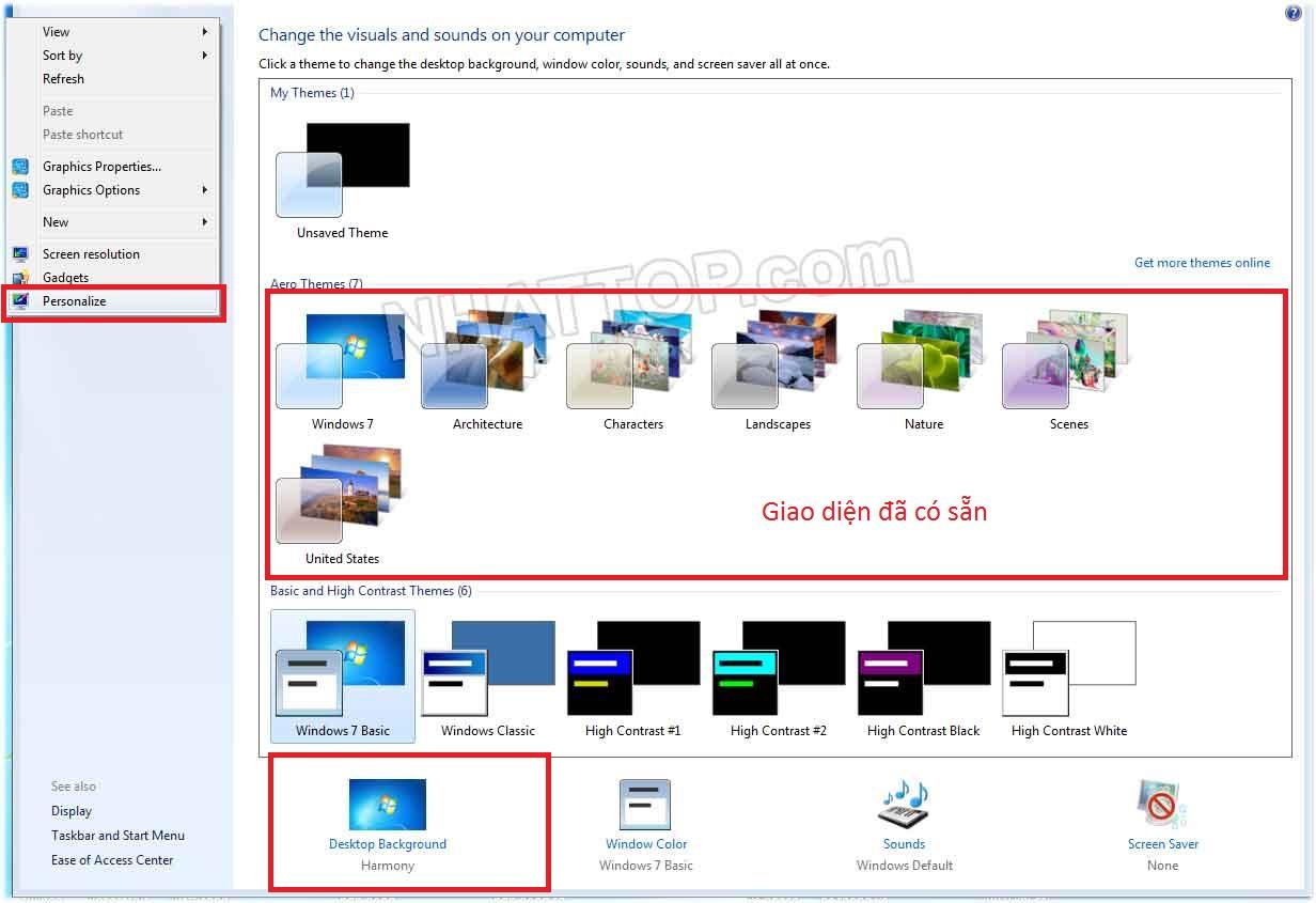Thay đổi màn hình desktop