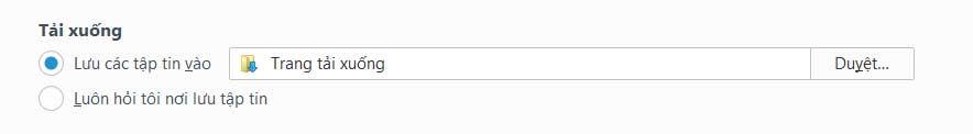 Thay đổi vị trí tải xuống Firefox