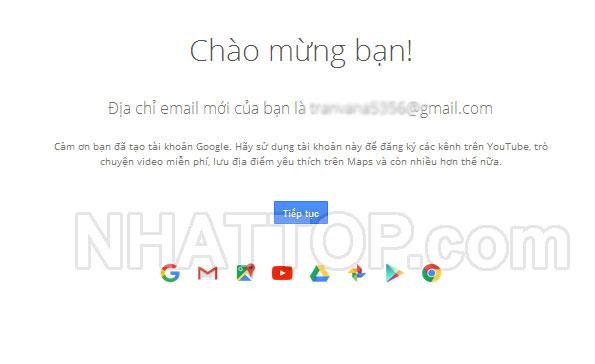 Đăng ký tài khoản gmail thành công