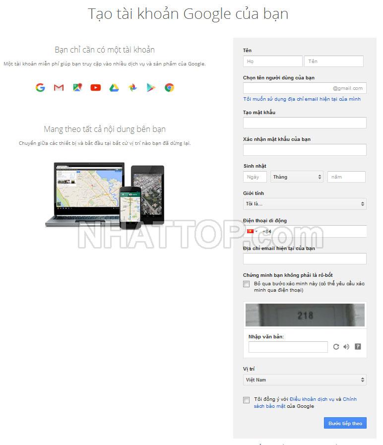 Mẫu đăng ký gmail