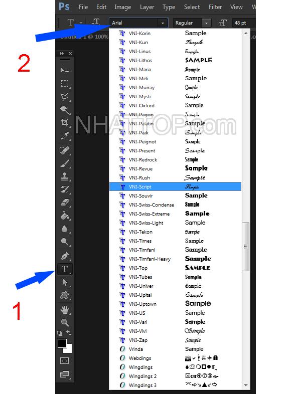 Lựa chọn kiểu chữ trong photoshop