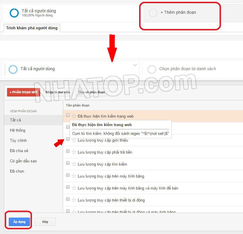 Tùy chọn báo cáo phân đoạn người dùng