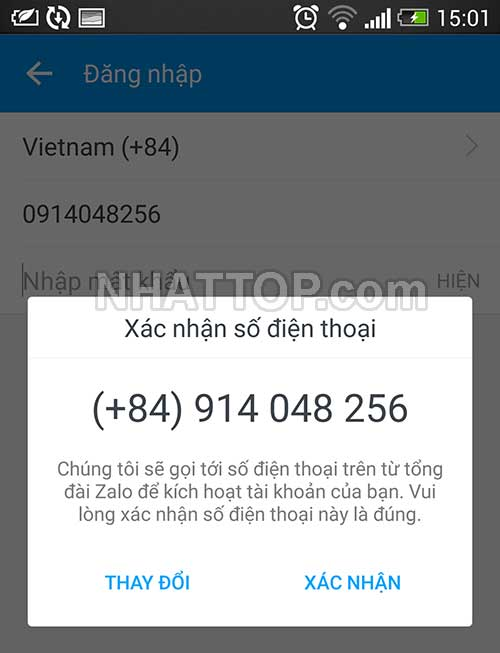 Xác nhận số điện thoại để hệ thống gửi mã xác nhận