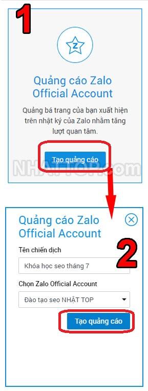 Chọn quảng cáo zalo official account