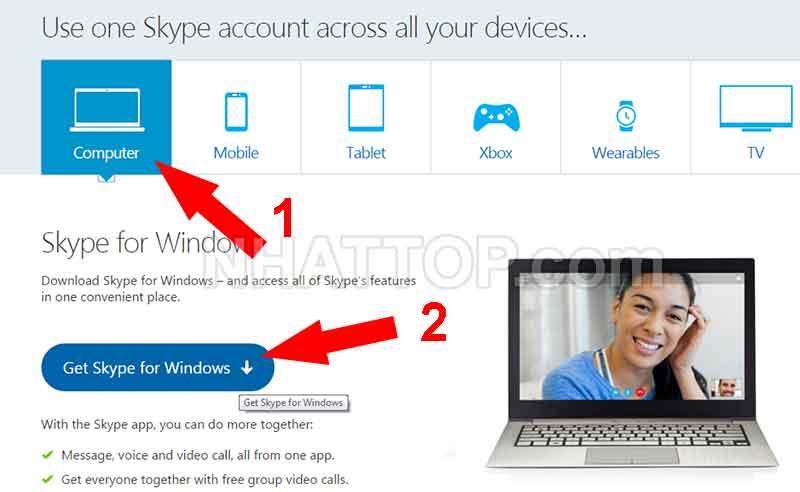 Lựa chọn phiên bản trên máy tính bàn Skype