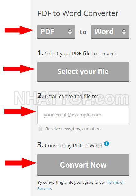 Nhập thông tin chuyển file PDF sang word