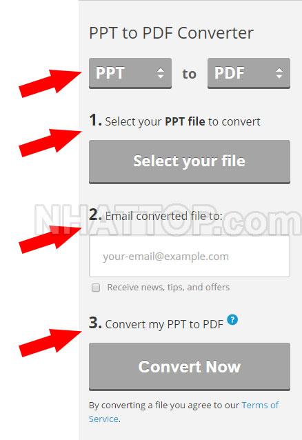 Nhập thông tin chuyển đổi PPT sang PDF