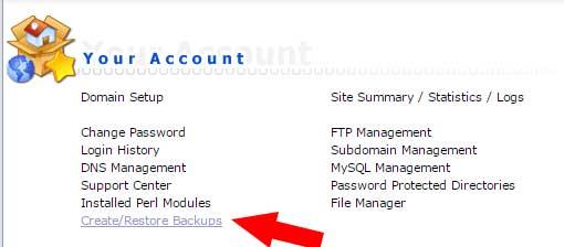 Tạo file backup trên hosting