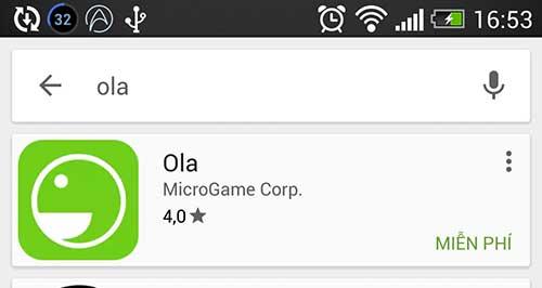 TÌm kiếm ứng dụng Ola