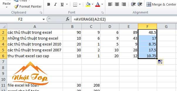 hàm average tính dữ liệu cho toàn bảng tính