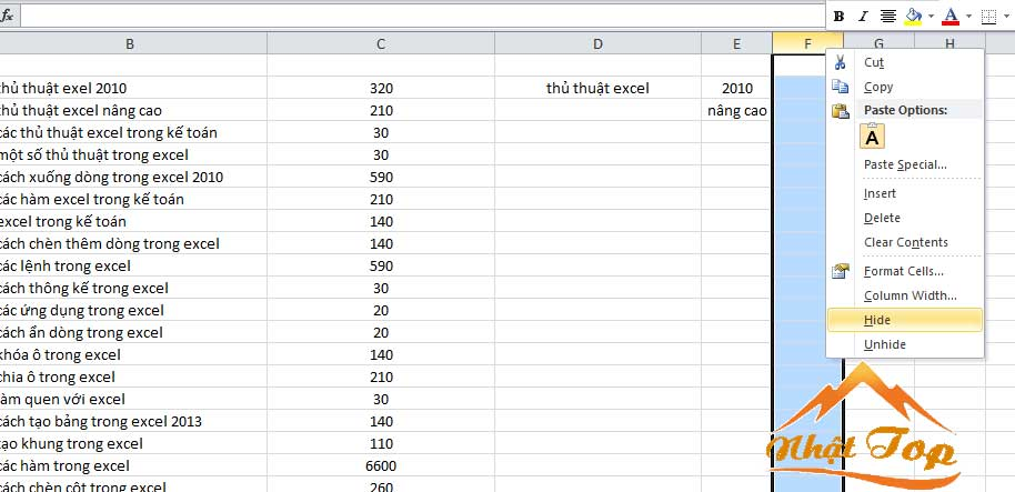 ẩn cột trong excel
