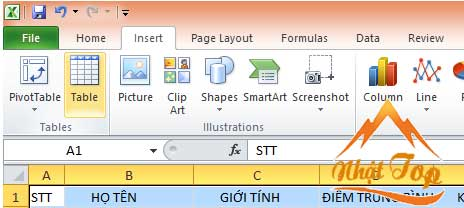 tạo bảng trong excel