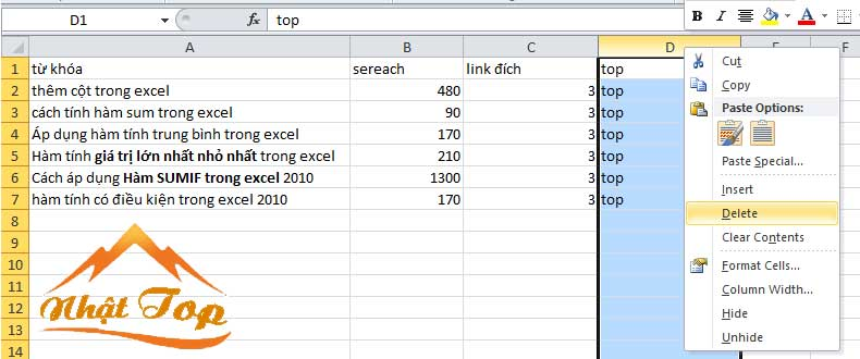 Xóa cột trong excel