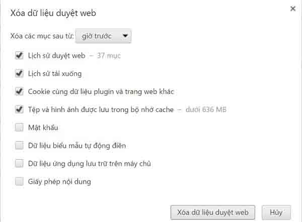 Xóa lịch sử web trên Google 1