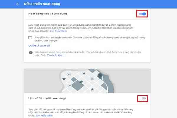 Xóa lịch sử web trên Google 2
