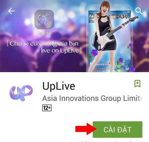 Cài đặt ứng dụng Uplive
